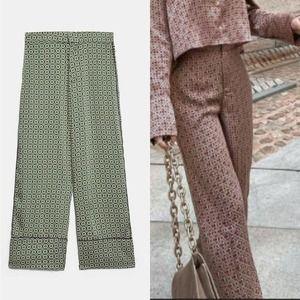 ZARA Printed Green Pajama Style Trousers Large NWT